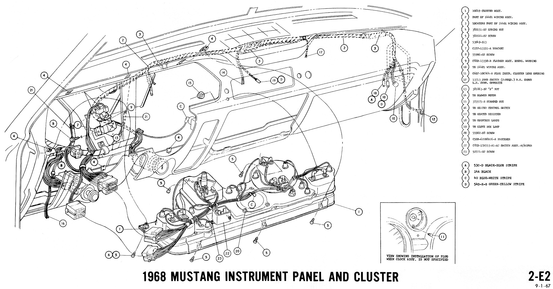 Mustang Turn Signal Wiring Diagram Also 1966 Under Dash 50 Rv Plug Cheater 220v Horn Relay 68 Instrument Cluster Enthusiast Rh Rasalibre Co