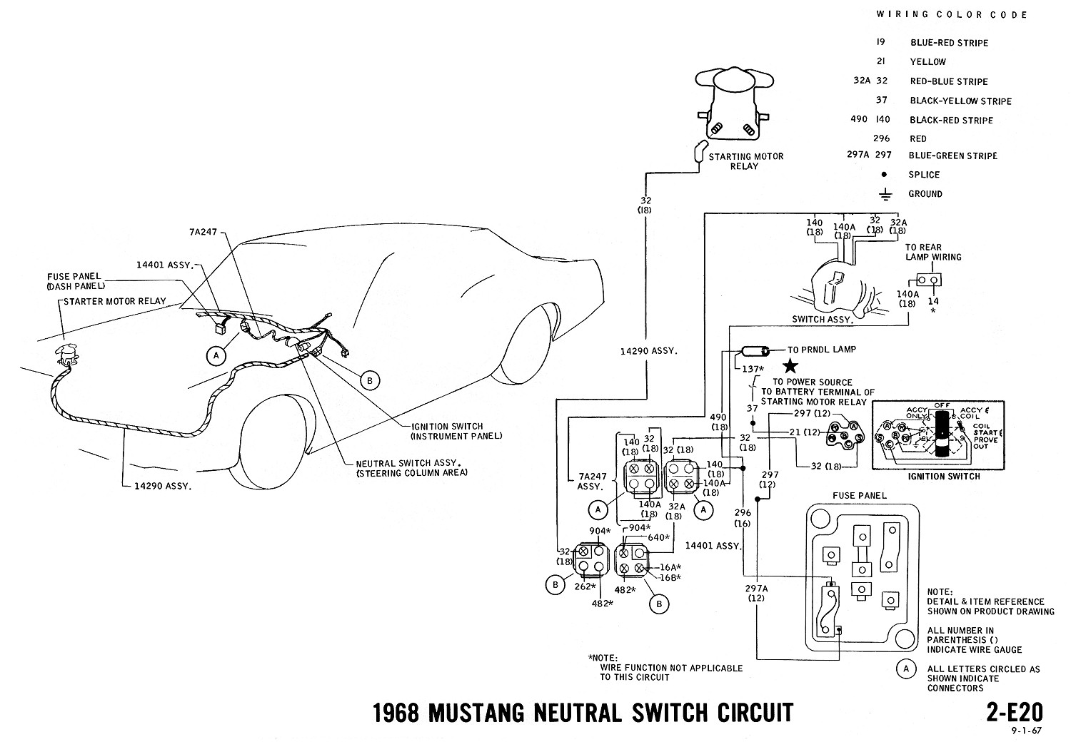 1968 Master Wiring Diagram. NEUTRAL SWITCH