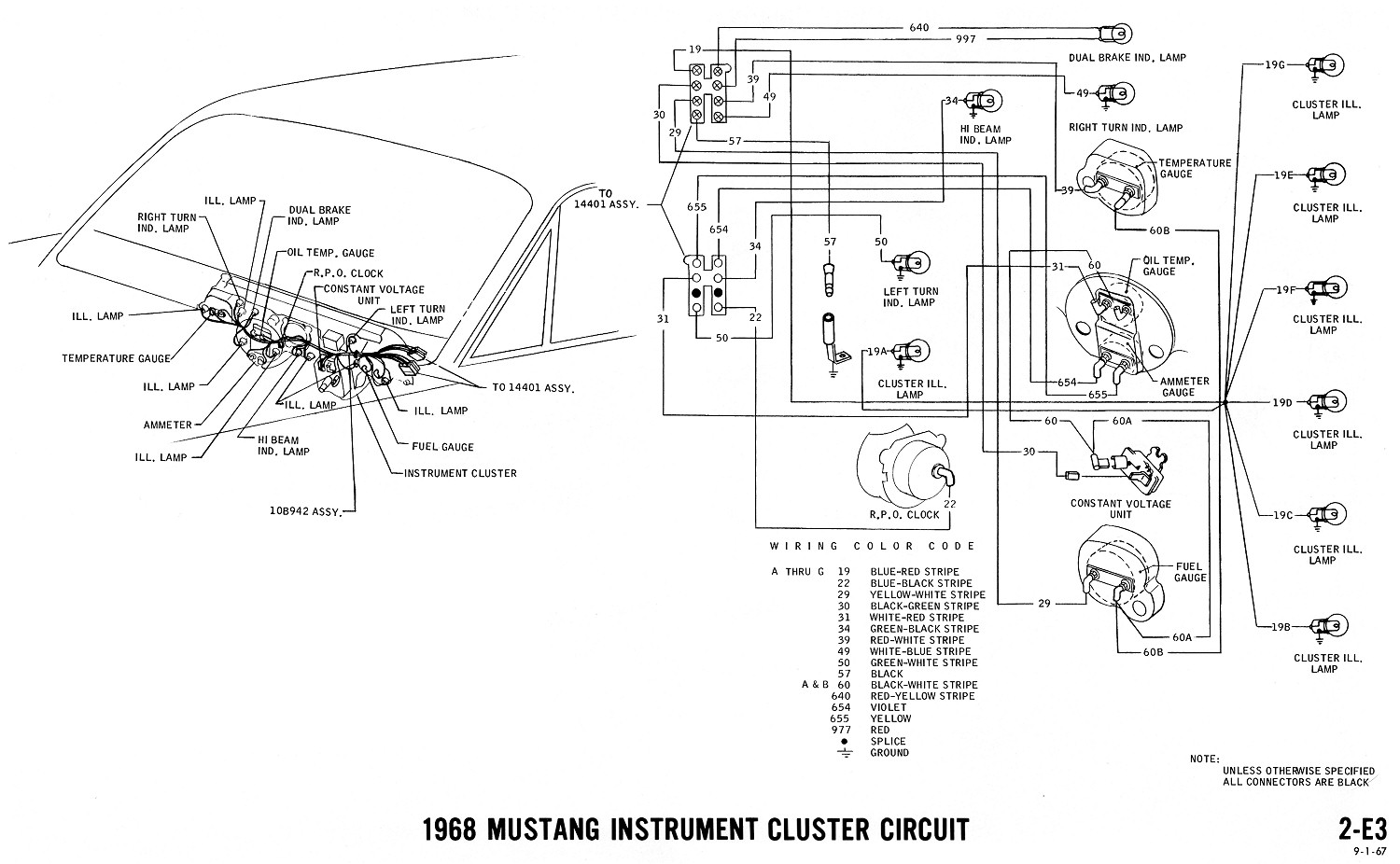 1968 Mustang Wiring Diagrams Evolving Software Light And Schematic Instrument Cluster Clock Gauges