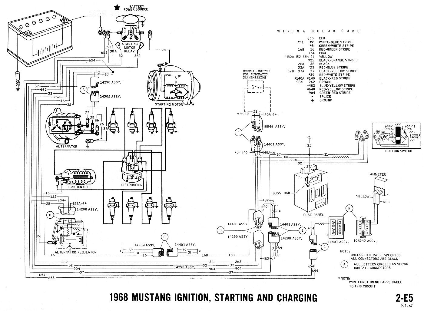 1968 mustang wiring diagrams evolving software rh peterfranza com 67 Mustang Color Charging System Diagram 1967 mustang alternator wiring diagram