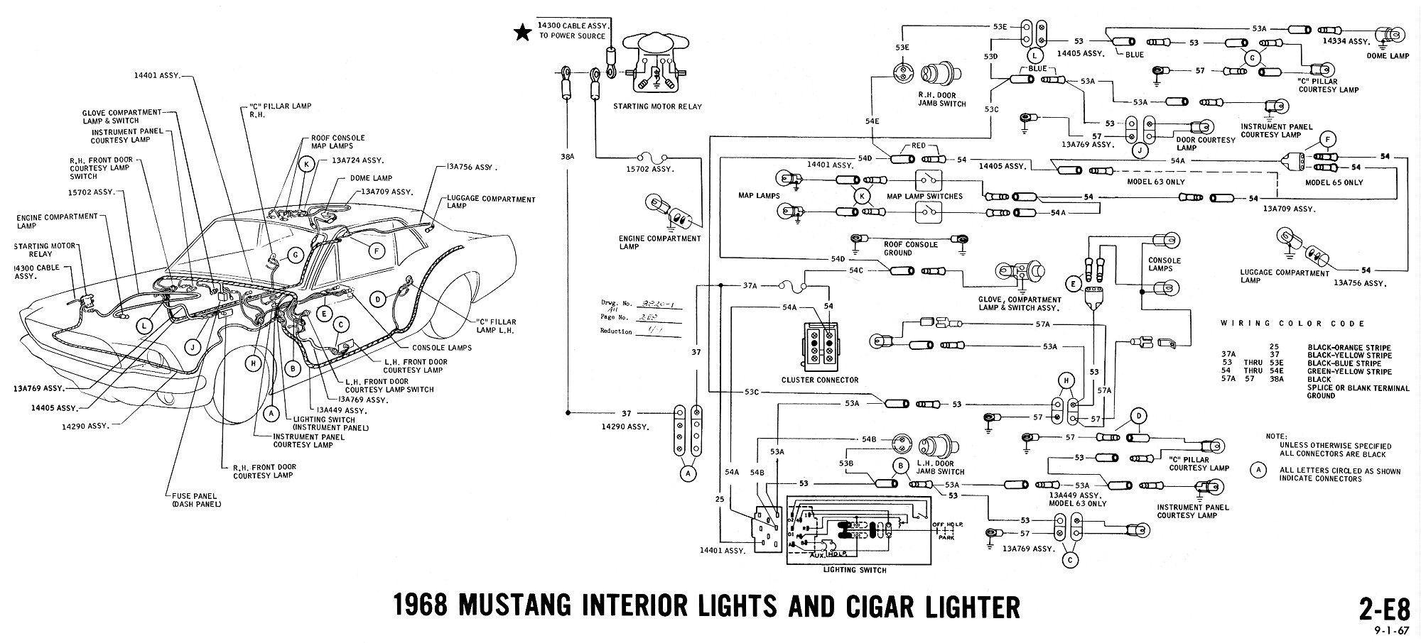 1968 Mustang Wiring Diagrams Evolving Software Diagram 2 Switches Harness Cigar Lighter Interior Lights